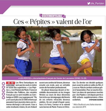 le parisien - ces pepites valent de l'or - Les Pepites - un film de Xavier de Lauzanne - production documentaire 5 Octobre 2016 Cambodge enfants études